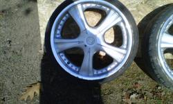 """Sell or possible  trade for set of 5x100 aftermarket rims for my pontiac sunfire or let me know what you have too trade Set of 4 18"""" motegi racing rims.with all center caps In decent shape two bolt patterns 4x100 and 4x114.7 rims need tires.have 215/ 35s"""