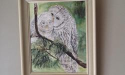 Mother snow owl and baby, picture and frame --- acrylic painting
