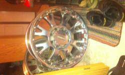 Set of 4 moto master rims  10 x 20 inch  excellent shape Fits ford F350  they were on a 2008