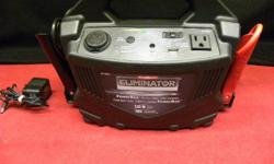 Moto Master Eliminator 300A/120W power box, item #143413-2. Can be used for laptop computers and small televisions, 10ah 12V battery, can surge to 200W, lightweight and easy to carry. Price of $85 includes all taxes. PLEASE REFER TO INVENTORY #143413-2