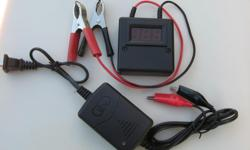 A new motorcycle battery charger / maintainer that keeps your battery charged during storage or to recharge after storage. Can also be used on the car. Will not overcharge batteries like the more powerful chargers do. Also comes with a handy voltmeter so