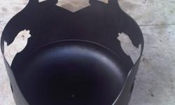 STEEL FIREPITS WITH MOTORCYCLE CUT OUT ON BACK AND SIDES. 3 COATS OF FLAT BLACK HIGH HEAT PAINT. $175 CONTACT JOHN AT 519-636-3596