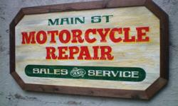 On Sale - $50.00 each Custom hand lettered Vintage Style Motorcycle Repair Signs with faux aged crackle paint finish and old recycled wood frames. Would make a great gift for any motorcycle mechanic. Cash only, pick-up only Retro Road Vintage Sign Co.