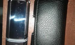 K1 KRZR Flip Phone. Works with Rogers, Fido, Petrocan. New Battery And Leather Case.