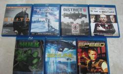 I have a few Blu-ray (BD) movies for sale. All discs and cases are in near-mint (or better) condition. Price is $4 per movie or $20 for the set, firm. - Blitz - The Day After Tomorrow - District 9 - He Was a Quiet Man - Skyline - Speed Thanks for looking.