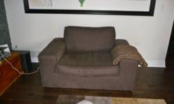 """We are moving and have three sofas and two arm chairs for sale. Brown velour sofa - $700 OBO. Purchased from Union Lighting and Furnishings. measurements W 81"""", D 41"""", H 32"""" Arm Chair - $350. Purchased from Elte Measurements W 30"""", D 32"""", H 37"""" Grey Sofa"""