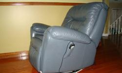 We are getting ready to move and have some great furniture for sale.  The furniture is in great shape, ready for daily use by a busy family or student.    Here is featured a large leather recliner.  Swivels, rocks and reclines.  Includes multi-speed