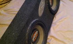 """Selling my used MTX Kicker CVR 10"""" subs in a Phoenix Gold box. These subs are designed for trucks as the are much thinner in size and can fit in a regular cab truck behind the seat. Total width is 7"""" and 36"""" long. Great working condition! Only asking $125"""