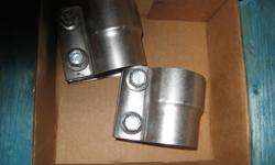 2 new in original box muffler pipe repair clamps for $ 25.00 for both. These are 2 1/4 inch. Perfect for a muffler or pipe replacement where welding is not practical. Also perfect for do it yourself repairs.