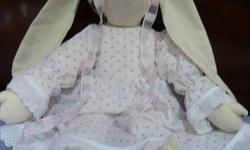 Muslin stuffed bunnies, perfect gift/present for a little girl, baby shower, etc.  5 different dress colors.  Two red colors are in the process of being made.  All made by myself.  $35 each, e-mail if interested or need more pics.  Thank you.