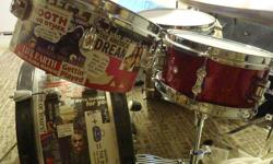 """For Sale:   Custom Pearl Rhythm Traveler: (new skins, shells have been collaged with images from the Rolling Stone [Magazine])   Sonor Force 3007 Maple Snare (sparkling red - 10"""") 20"""" bass drum (Dixon kick pedal) 10"""" tom 12"""" tom 14"""" floating floor tom"""