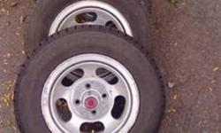 """13"""" aluminum 5 slot mustang rims with tires, the tires are like brand new $350 for all text             289 700 9312       or call             905 719 4009       if ad still up they are still available!"""