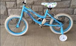 Gently used by one girl. Purchased two years ago from Sports Experts for $150. Removable training wheels included.
