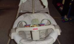 Cradle swing goes from side to side to front to back to swing. Runs off 4 d batteries. Has 4 different calming music sounds and mobile that spins with mirror on bottom. 6 speed like new condition. $75.00 obo