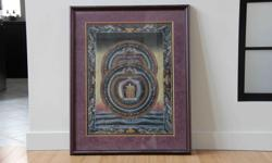 """Hand painted with gold leaf accents. Image 20""""x26"""" Framed 29""""x36"""" Painted by, and purchased at, Buddhist Monastery in Nepal Excellent condition."""