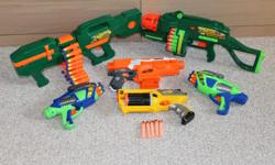 Total of 6 used Nerf guns all sold together. All in working condition. Automatic Tommy 20 (battery operated) w/ 20 darts * It is motorized * Fully automatic * Squeeze trigger for continuous blasting * Quick reload * 3AA/LR6, 1.5 Alkaline batteries