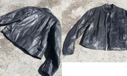 It has never been worn on the street. It is a tick leather jacket. It fits a 5.8' - 6' tall person.