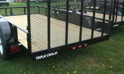"""This is a new 6'x12' Triple Crown Utility Trailer. It measures 6'4""""x12' inside and comes with 4 tie downs, planked floor, 2"""" coupler, 15"""" wheels, 3500 lb axle, 2000 lb jack, and a rear ramp/ gate. If you have any questions you can drop me a line or give"""