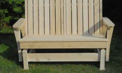 These glider benches are made of premium grade white cedar. They have a ultra smooth rocking motion and are comfortable. We have extra-wide gliding chairs also available for 250$ This bench does not have a finish on it. -We offer free delivery (some