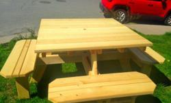 We hand pick our lumber from a local Saw mill. These tables are built from White cedar and has room for 8 people on them. They are Great because you don't need to step over the bench like standard picnic tables. The tables are ready to take on stain and
