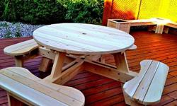 We ONLY use white ceder handpicked from a LOCAL sawmill. You can't hide the passion that somebody has when you build something by hand. These picnic tables are no different. They are sturdy and the are built to last. They are sanded down and are ready to