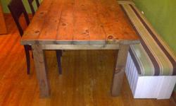 """custom build dining tables havest tables and benches, hand made locally, all tables made to order. below are a few example piece, with prices.   first 2 photos 32x66x30"""" high 1.5"""" solid pine table top stained light walnut (can be stained in any colour)"""