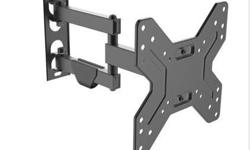 "New Full-Motion TV VESA Wall Mount 17"" to 42"" This Full-Motion wall mount is designed for most 17 to 42 degree flat-panel TVs up to 55lbs/25kgs with tilt degree from -12 to +12 degree, swivel degree up to 180 degree, and is constructed from heavy gauge"