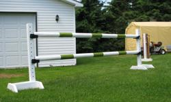 I build and sell new horse jumps. From Hunter to Jumper, even cross country jumps. They can be painted in the color of your choice. Standards are 5ft. high and poles, planks and gates are all 10ft. wide. You can see more of my famous jumps at