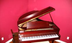 Baby Grand Piano and bench - refinished cabinet in Mahogany. Needs tuneup. Pickup only.