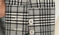 TF014, Made in Switzerland, cotton-linen blend, size 16/41, barrel cuff. Unworn.