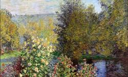 """New Print A Corner of the Garden at Montgeron by Monet 40"""" X 40"""" Paid $200 (wrong print)"""