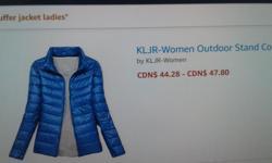 New royal blue.puffer jacket...order it on line...paid $50 but is is too small...cost too much to send back...very nice..never worn...just received it last week
