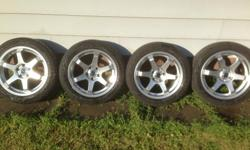 17in GoodYear all season tires with steel alloy rims (Star Pattern) Bolt Pattern is 5x114.3 Was only used for 2 weeks. P215-/50-R17 GoodYear Allegra Asking $600 FIRM