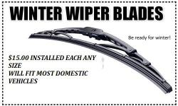 WIPERS WILL FIT MOST DOMESTIC VEHICLES AND WILL BE $15.00 EACH ANY SIZE. (DEPENDING ON VEHICLE) PLEASE CALL FOR FITMENT QUESTIONS AS HIGHER END VEHICLES WILL REQUIRE OTHER HARDWARE.