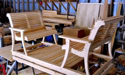 These garden gliders are great for the back yard patio or on the deck. Made with white cedar bought locally from a saw mill. You can add a table in the middle for 200$ and a ruff for 250$ Made sure that the hardware were made here in Canada to help our