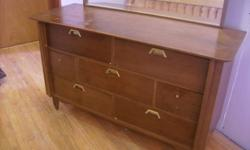 """ALL DRAWERS WORK JUST FINE. The top of the dresser is a little worn. Could use a coat of stain. No deep scratches. Dimensions: 31"""" high/without the mirror/, 20"""" deep and 52"""" wide $70 CALL ANYTIME: (905) 382-6428 ELIZA Check out my other ads!!!"""