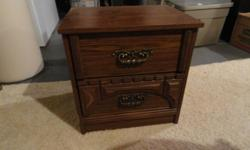 Mahogany coloured, two drawer night table