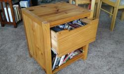 Solid wood (pine) night table with drawer and shelf. Size: 18.5 inches wide * 16.5 inches deep.
