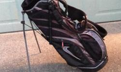 Used Nike golf bag. Have rain cover still for it. Is in decent shape. A few small tears inside the bag but I used it fine. Stand works and lots of storage in the bag. Just won a new one so am selling.