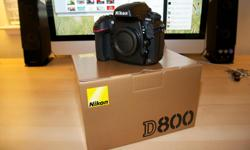 Selling my D800 which was purchased new from Henry's in Ottawa. The camera is in mint condition, not a scratch on it anywhere and has only 47,650 actuations on it. The reason for selling is to upgrade to a new Nikon body, Comes in original gold box with