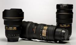 Nikon 14-24mm 2.8 (Sold) Nikon 24-70mm 2.8 (Sold) Nikon 70-200mm 2.8 VR (Sold) Nikon 105mm 2.8 VR Micro (Sold) Nikon 300mm 1:4D with $250 upgraded Kirk Collar $1100 Nikon 20mm 2.8D $550 Nikon 55-300mm VR DX $300 Nikon Teleconverter TC-1.4e ii $275 All