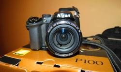 Selling Nikon P100 Digital Camera.  Bought from Future shop in the summer and have decided to upgrade to a DSLR.   Excellent point and shoot camera with amazing zoom.   Comes with camera bag, 4gb memory card and warranty.  I will add a couple photos that