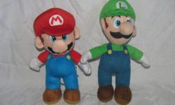"""Hello, we are selling a set of two plush Nintendo Mario toys, Mario and Luigi. Mario is about 9"""" tall and Luigi is about 10"""" tall. They are in very good condition with some minor wear. Price is $20. We are in Orleans near Charlemagne and Valin; please"""