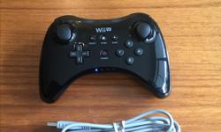 Please see my other adds. I will consider discounts if you are buying multiple items. Up for sale is a black Nintendo Wii U Pro Controller with charging cable in excellent condition. Selling as I am moving and cannot take it with me. Asking $45 . Sorry,