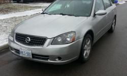 Make Nissan Model Altima Year 2006 Colour Silver kms 185000 Trans Automatic E-tested just spent $700 on ball joints and brakes Title: rebuilt (was in an accident 5 years ago) Lady Driven, Garage kept