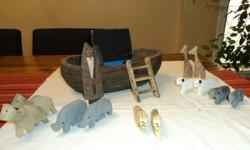 6 sets of wooden animals wooden Noah figure wooden ladder wooden boat with separate boat house   a great collectible or you can actually let the kids play with it! wonderful for Christmas