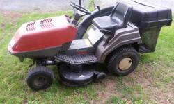 12 hp Briggs and Straton Riding lawnmower. Runs, smokes a bit. Cuts and bags the grass. Hydro-static transmission. Deck has some rust. $275 obo.