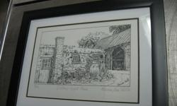 """Number 46 of 100 drawing of Orleans Apple Farm by Marion Jean Hall. Overall size 11"""" by 14"""" Professionally framed, non smoking home"""