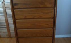 """For Sale: Beautiful classic design oak finish 5 drawers 32""""W X 17""""D X 45""""H from smoke free home buyer to arrange pick up thank you for looking"""