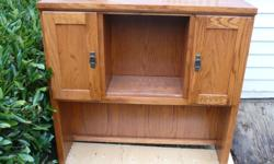 solid oak hutch, see picture, great for computer table or dining room/kitchen over sideboard